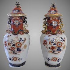 """Pair of Large English Ironstone Lidded Jars Urns Vases 24"""" Tall by Mortlock c 1860 Dragons Foo Lions"""