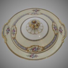 "1930's Noritake ""Lenore"" Covered Vegetable Serving Dish Gilt Flowers"