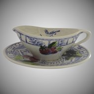Vintage Gien France Oiseau Bleu Gravy Sauce Boat with Underplate Fruits