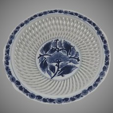 Vintage Japanese Hasami Yaki Porcelain Reticulated Open Work Bowl Blue and White