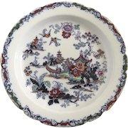 "Large Round English Ashworth Bros. Hanley Platter Pie Plate Serving Chinoiserie Oriental 12 1/2"" Diameter P.1698"