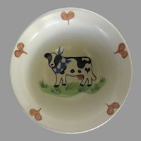 Vintage Margie Weinstein Pottery Bowl Hearts Cow