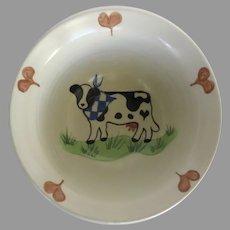 Vintage Margie Weinstein Pottery Bowl Hearts Cow