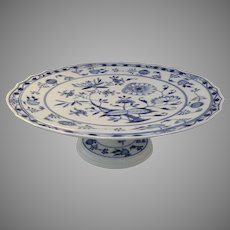 "Vintage Older Meissen Blue Onion Pattern Large Cake Plate Stand 14 1/2"" Diameter"
