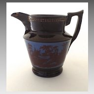 English Copper Luster Pitcher Bucolic Country Scene
