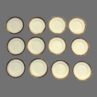 12 x Arundel Blue (Scalloped) by ROYAL WORCESTER Dinner