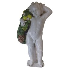 "Large 22 1/2"" Tall Glazed Terra Cotta Italy Italian Vietri Wall Sculpture Plaque Putti Cherub Angel"