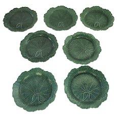 English Wedgwood Majolica Green Glazed Leaf Cabbage Pattern 19thC Set of 7