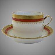 Vintage Richard Ginori Italy Italian Cup & Saucer Regal Orange Gilt