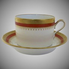 Vintage Richard Ginori Italy Italian Cup & Saucer Regal Orange Gilt