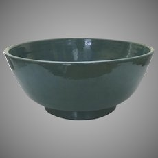 Very Large Vintage Teal Glazed Wheel Made Bowl