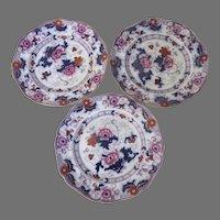 Set of Three English Cauldon Plates Imari Colors