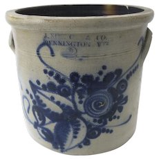 J. Norton & Co 2-Gallon Pottery Crock, Bennington Vermont, 19th Century