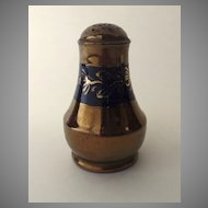 English Copper Luster Pepper Pot with Blue Decoration