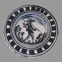 Vintage Hand Painted Faience Plate Country Farmer Blue and White (A)
