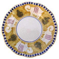 """Vintage Vietri Solimene Made in Italy Shallow Bowl Plate 8 1/2"""" Goat Yellow"""