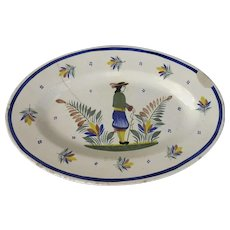 Henriot Quimper Faience Oval Platter Man in Center 20th Century