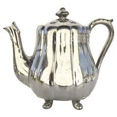 19th Century Silver Lustreware Teapot Ribbed Melon Shape Footed