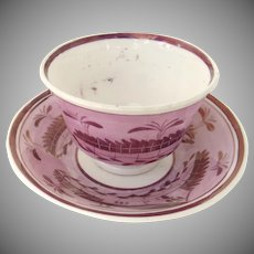 19th Century Pink Luster Charming English Cup Saucer