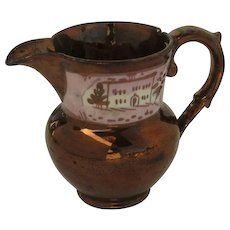 19th Century Pink and Copper Luster Cream Pitcher As Found