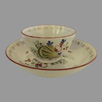 Early 19th Century Creamware Handleless Cup and Saucer Shell Motif
