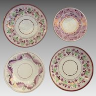 Group of Five Pink Luster Plates c.1860