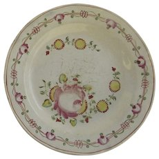 English Hand Painted Creamware Plate Early 19th Century Country
