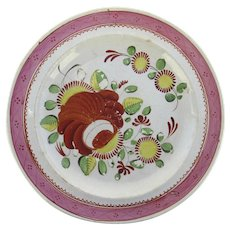 Early 19th Century Creamware Plate with Pink Border