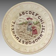 19th Century English Staffordshire Child's Alphabet Plate Children With Lambs Motif