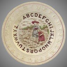 19th Century English Staffordshire Child's Alphabet Plate Children With Lambs Motif