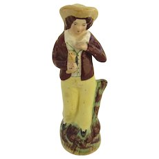 19th Century Staffordshire Figure Boy with Bird