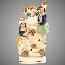 1860 Staffordshire Pottery Maids with Flowers