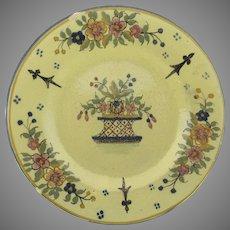 Charming Yellow Ground Basket Motif Henriot Quimper Plate Older Mark