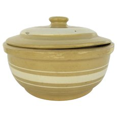 Vintage Yellow Ware Casserole with Associated Lid Brown White Bands Watt Ware