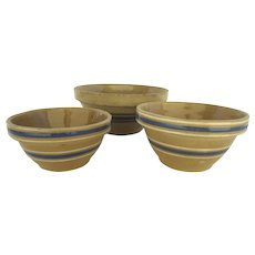 Group of Three Vintage Yellow Ware Country Bowls Blue Lines Blue and White Lines