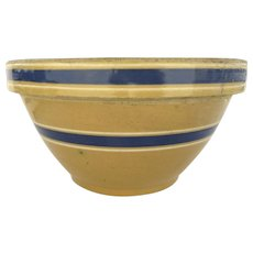 Very Large Yellow Ware Bowl Blue and White Bands