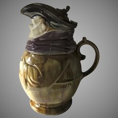19th Century Toby Pitcher with Pewter Lid