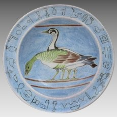 "Huge Vintage Faience Charger Bowl Ducks and Greek Hieroglyphics 18"" Diameter Italy Italian"