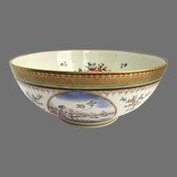 Chinese Export Style Bowl Gilt Rim