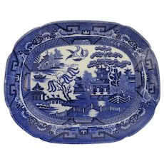 Allertons Blue Willow Serving Platter Dish Transferware Tray Staffordshire Pottery Platter