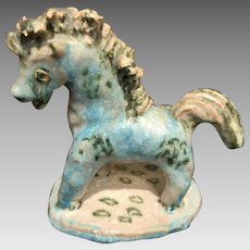 Mid Century Guido Gambone Glazed Pottery Horse Figure Signed Italy Italian