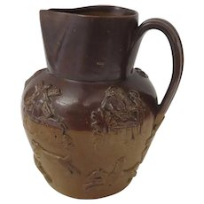 19th Century English Stoneware Salt Glaze Jug Pitcher Hunt Scene Windmills Dogs Horse (A)