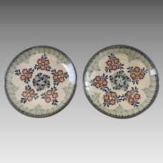 "2 x Vintage Polish Poland Pottery Plates Unikat Manufaktura Boleslawiec Signed 7"""