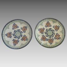 "2 x Vintage Polish Poland Pottery Plates Unikat Manufaktura Boleslawiec Signed 8 1/2"""