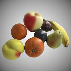 Realistic Hand Finished Ceramic Fruits: Banana Orange Apple Pear Plum & Peach Sculptures Vintage 1950s (8 Pieces)