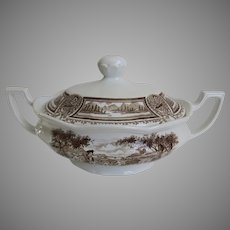 Vintage Americana Style House Brown Transferware Covered Vegetable Dish Tureen Ironstone J. & G. Meakin England English