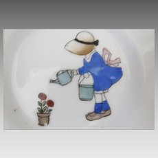 1930's 1940's Child's Plates Little Girl in Bonnet Watering Flowers with Watering Can and Pail