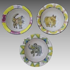 Group of Three Suki Diamond Studio Designer Stoneware Majolica Art Pottery Sonoma County California Artist Signed