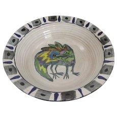 Large Crocodile Bowl by Suki Diamond,  Studio Designer Stoneware Majolica Art Pottery Signed Sonoma County California Artist