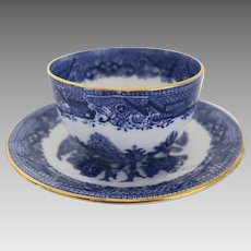 Late 19th Century Blue Willow Handleless Cup & Saucer by Diamond China